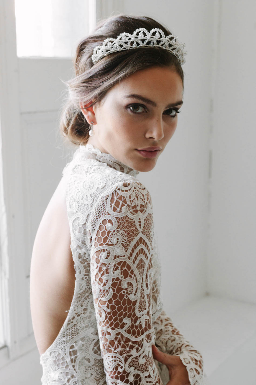 Photo of CHANTILLY | scalloped ivory wedding crown – Tania Maras