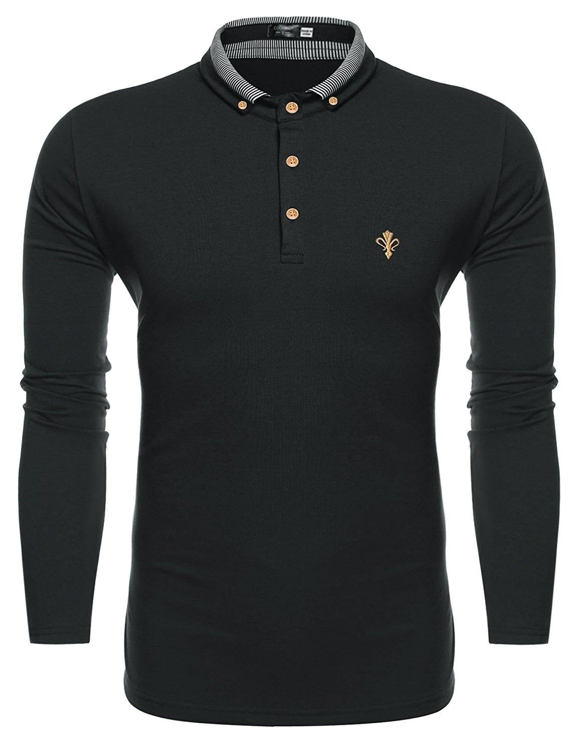 Mens Long Sleeve Polo Shirt Classic Causal Business Slim Fit Cotton