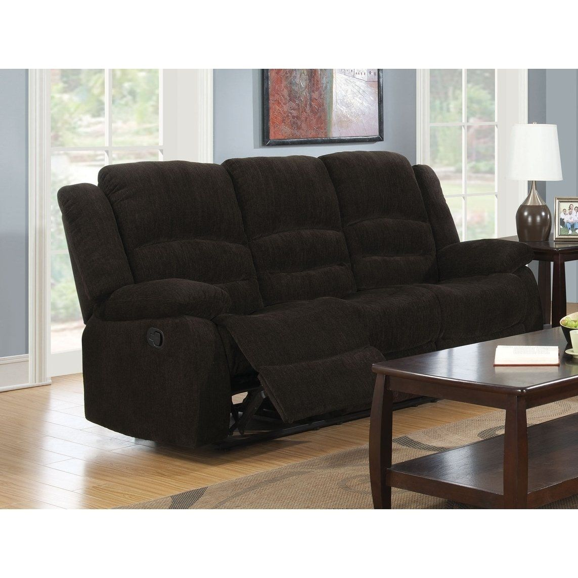 Gabriel Chocolate Chenille Reclining Sofa Brown Fabric In