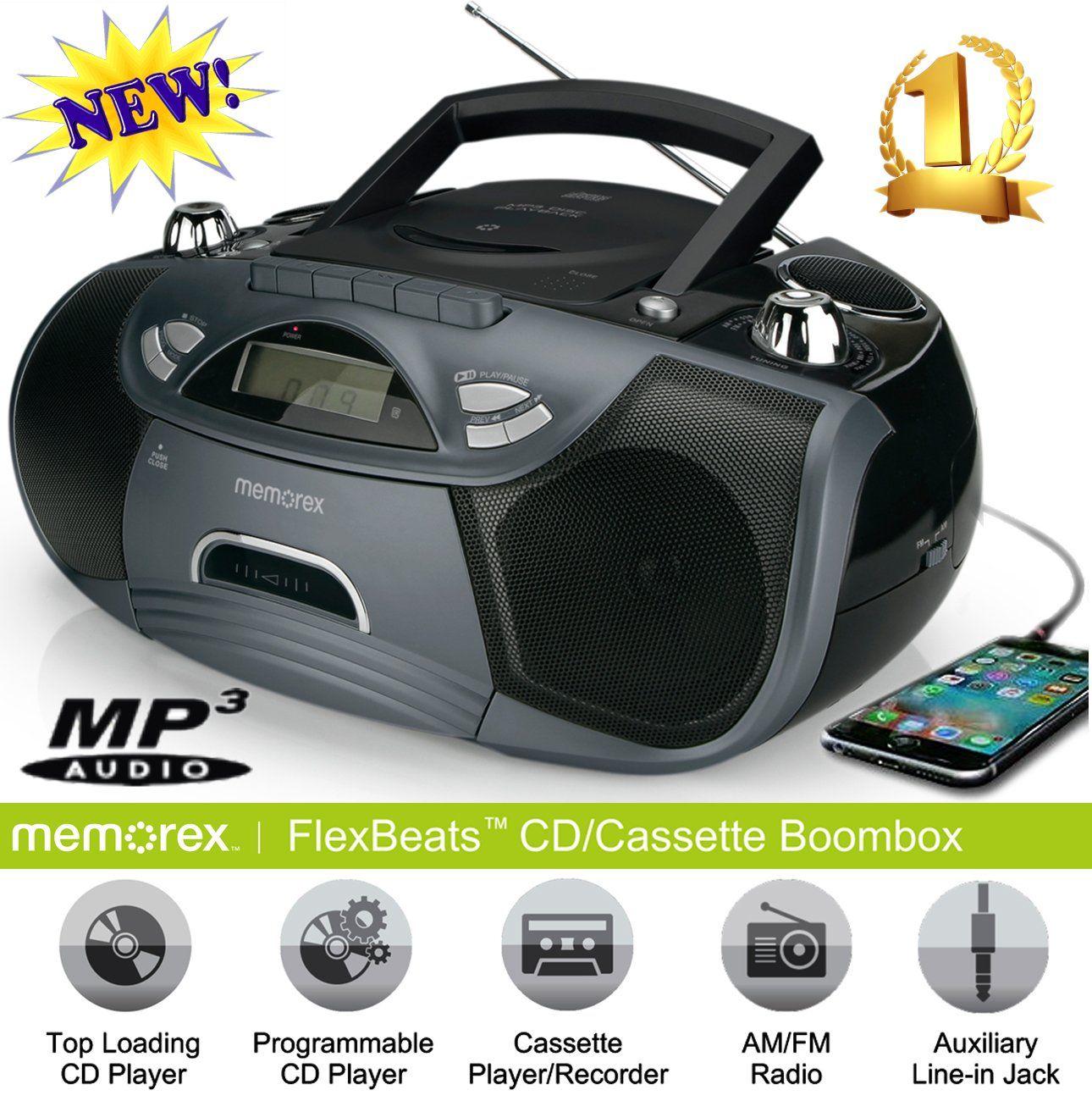 Memorex Cd Cassette Recorder Boombox Mp3 Fm Flexbeats Mp3262 With Aux Line In Jack - Black