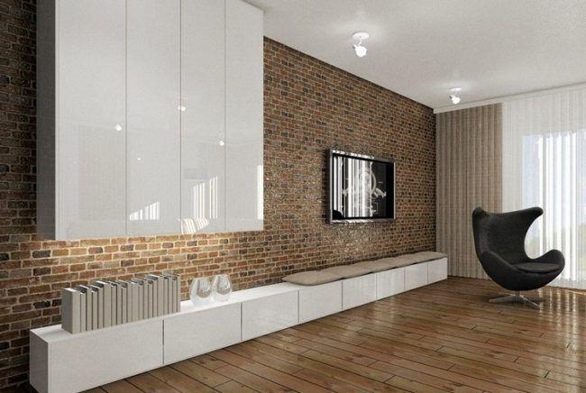 Fernseher Wand Montieren Wohnzimmer Weisses Lowboard Hochglanz Backsteinwand Wohnzimmer Modern Modern Design Fur Zuhause