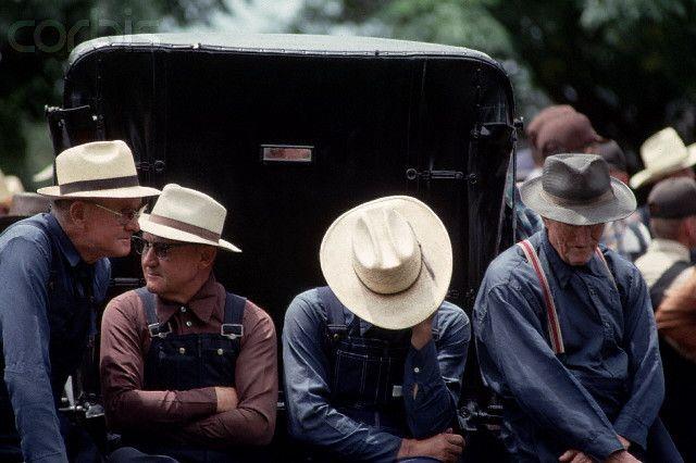 Mennonite Men Wearing Straw Hats  99a56a53f65
