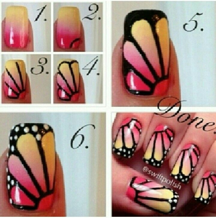 Butterfly nail design | Fancy Nails | Pinterest | Butterfly nail ...