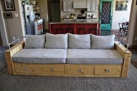 Modern Wood Storage Sofa Built In Couch Furniture Plans Furniture