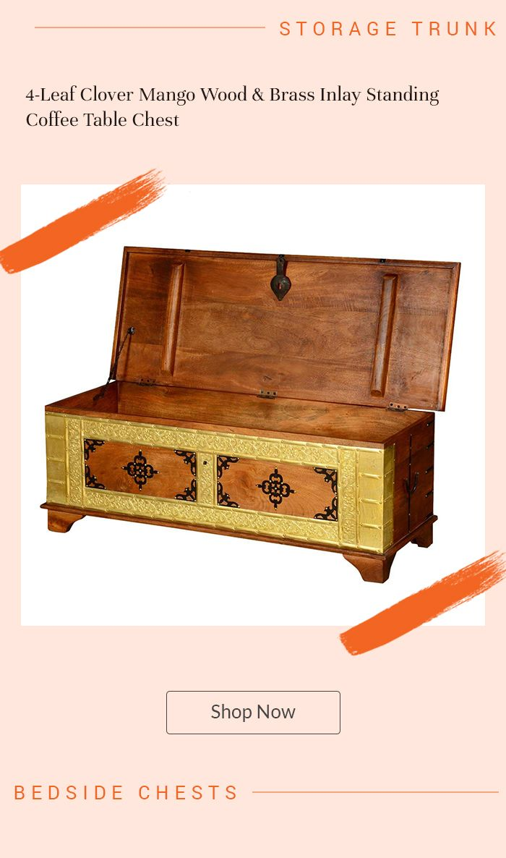 4-Leaf Clover Mango Wood & Brass Inlay Standing Coffee ...