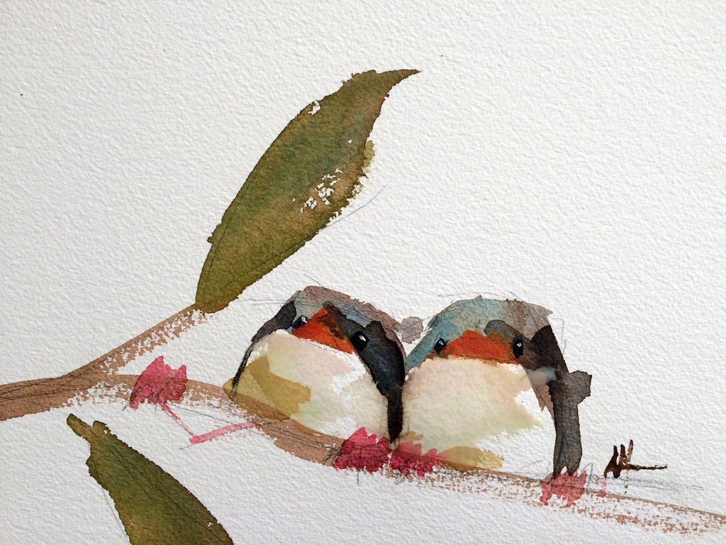 Two Barn Swallows no. 14 Original Bird Watercolor Painting by Angela Moulton