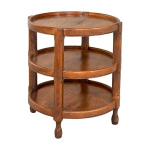 Round lamp table with three shelves meadows downstairs family room round lamp table with three shelves aloadofball Images