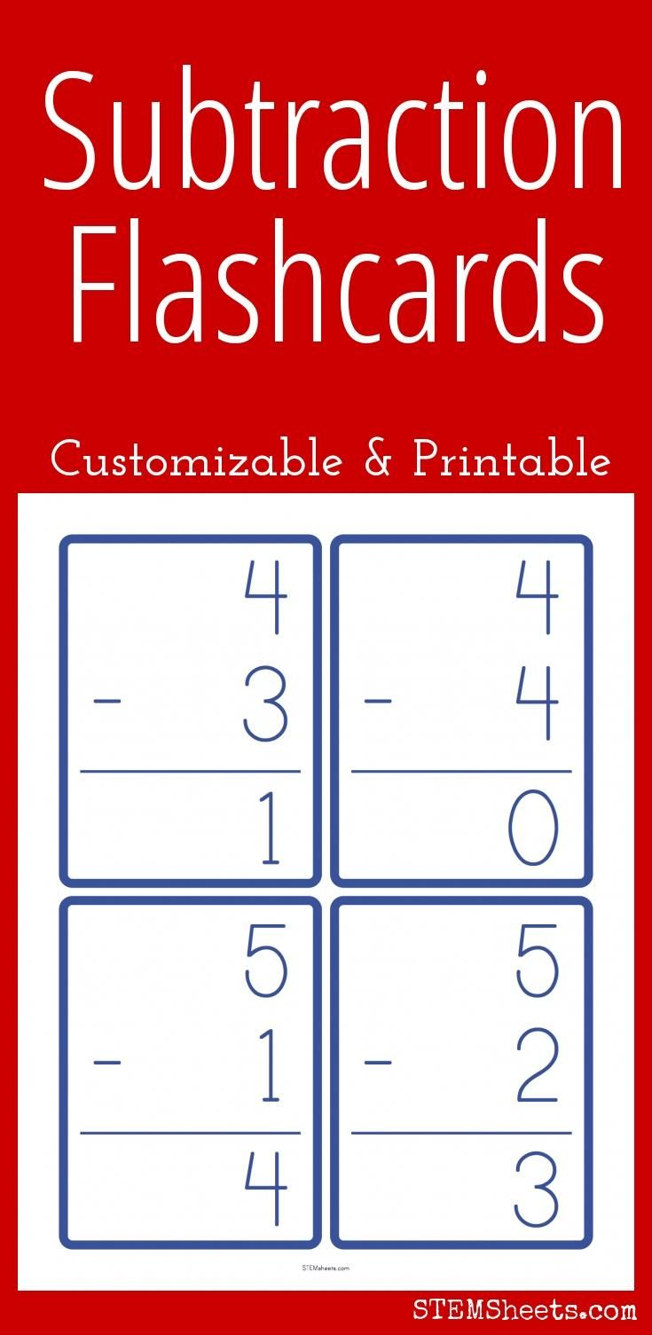 Subtraction Flash Cards - Customizable and Printable