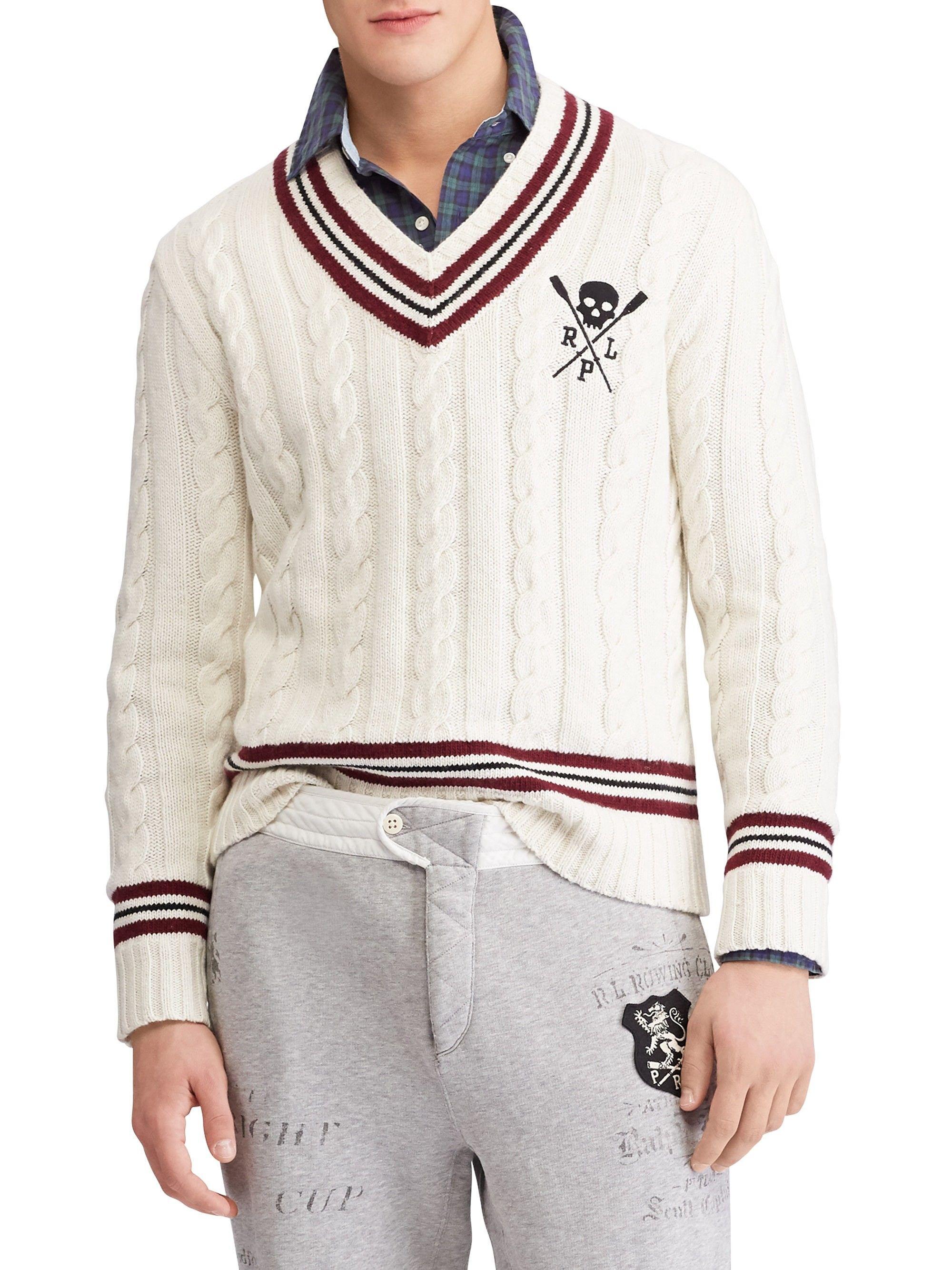 28548a1686d Ralph Lauren Striped Cricket Sweater - Cream Xx-Large
