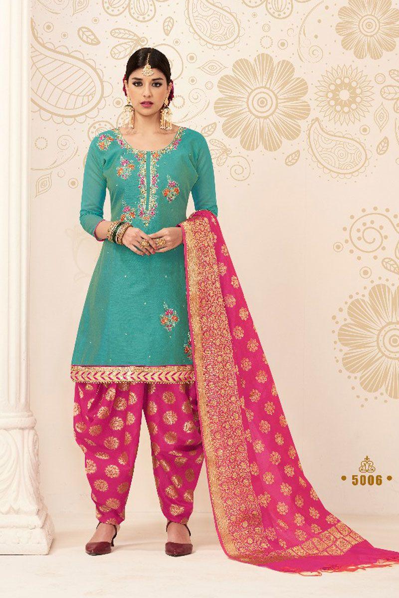 f16e62ea0b Sea-Green-Traditional-Indian-Wear-Chanderi-Cotton-Embroidered-Patiyala-Suit -With-Banarasi-Silk-Dupatta-5006-16862 Catalog No : 4561 WWW.LKFABKART.