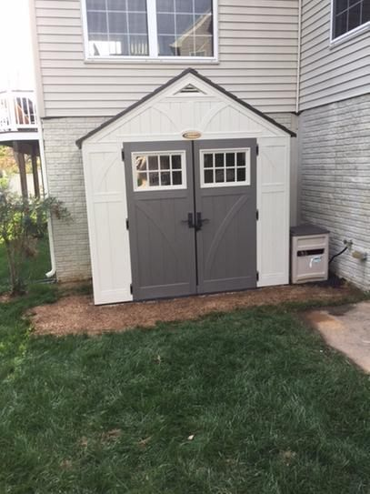 Suncast Tremont 4 Ft 3 4 In X 8 Ft 4 1 2 In Resin Storage Shed Bms8400 The Home Depot Shed Resin Storage Backyard Storage