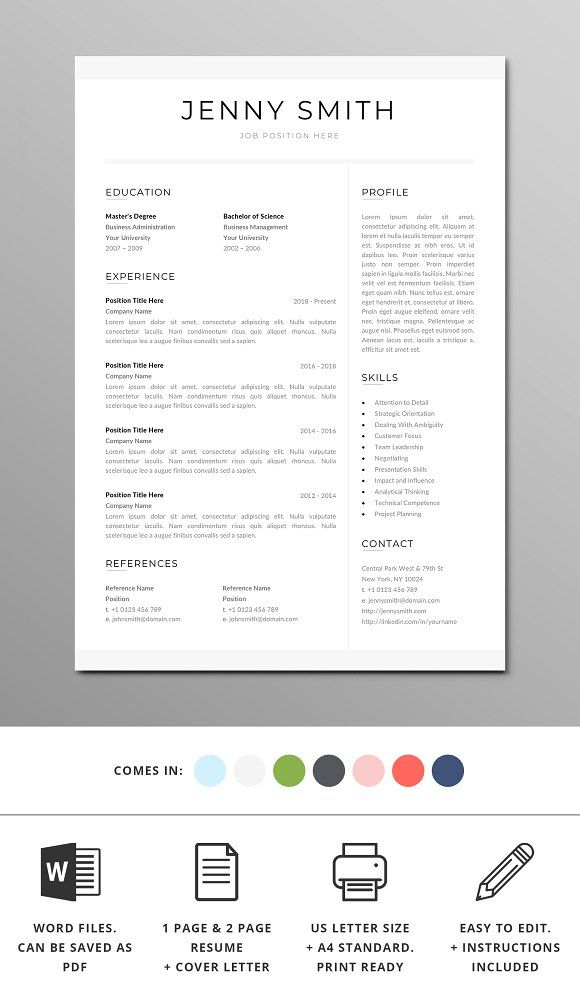 Resume Template Word Modern Clean CV | Template, Resume Words And Cover  Letter Template