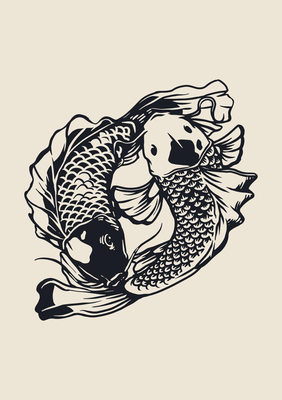 Koi Fish Illustration Yin Yang Poster In 2021 Koi Fish Fish Illustration Yin Yang Koi