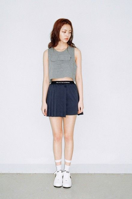 f8efec58c We Are Selecters · NAVY UNBALANCE PLEATS SKIRT by O!Oi | clothes-spo ...