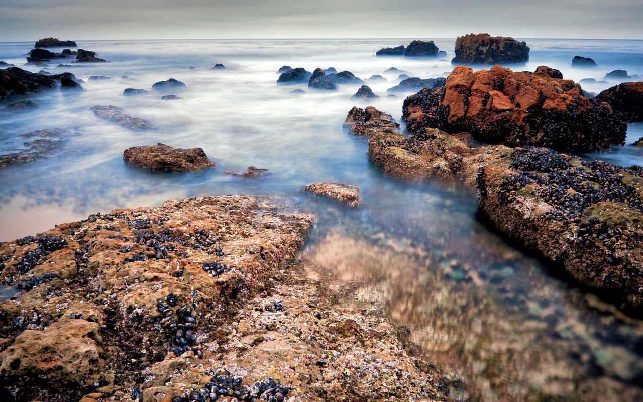 """""""Rising Tides"""" -- #wallpaper by """"Josh220"""" from http://interfacelift.com -- (Approximately) Laguna Beach, California. The sunset was rather insipid, ..."""