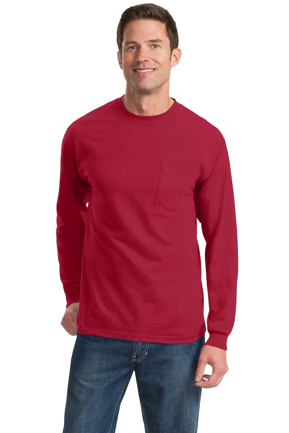 Port & Company Tall Long Sleeve Essential T-Shirt with Pocket PC61LSPT Red