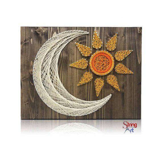 Sun & Moon String Art Kit   DIY Kit Includes All Supplies   String Art Patterns   Celestial Decor   Sun and Moon   Christmas Gift