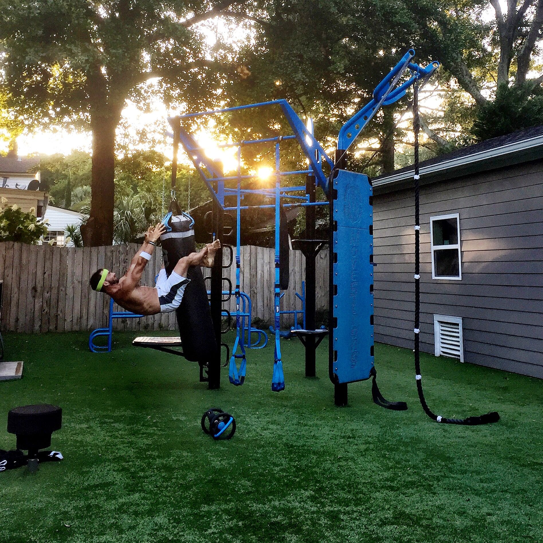 Backyard Gym Hanging Sit Up On Heavy Bag Movestrong T