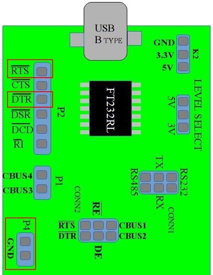 USB2SERIAL board showing DTR,RTS and Ground pins | FT232 Projects