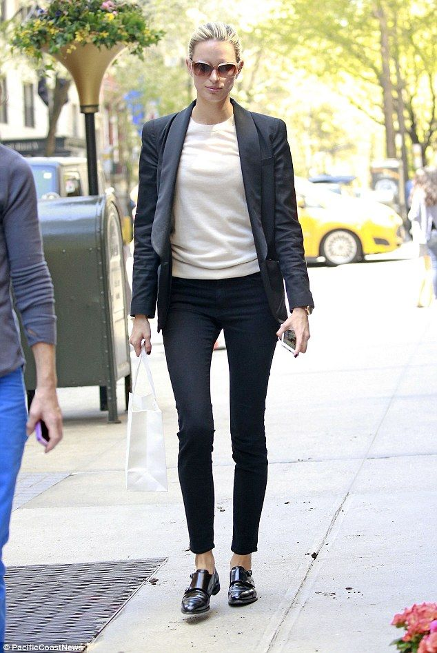 Karolina Kurkova styles herself in androgynous blazer and trousers #dailymail