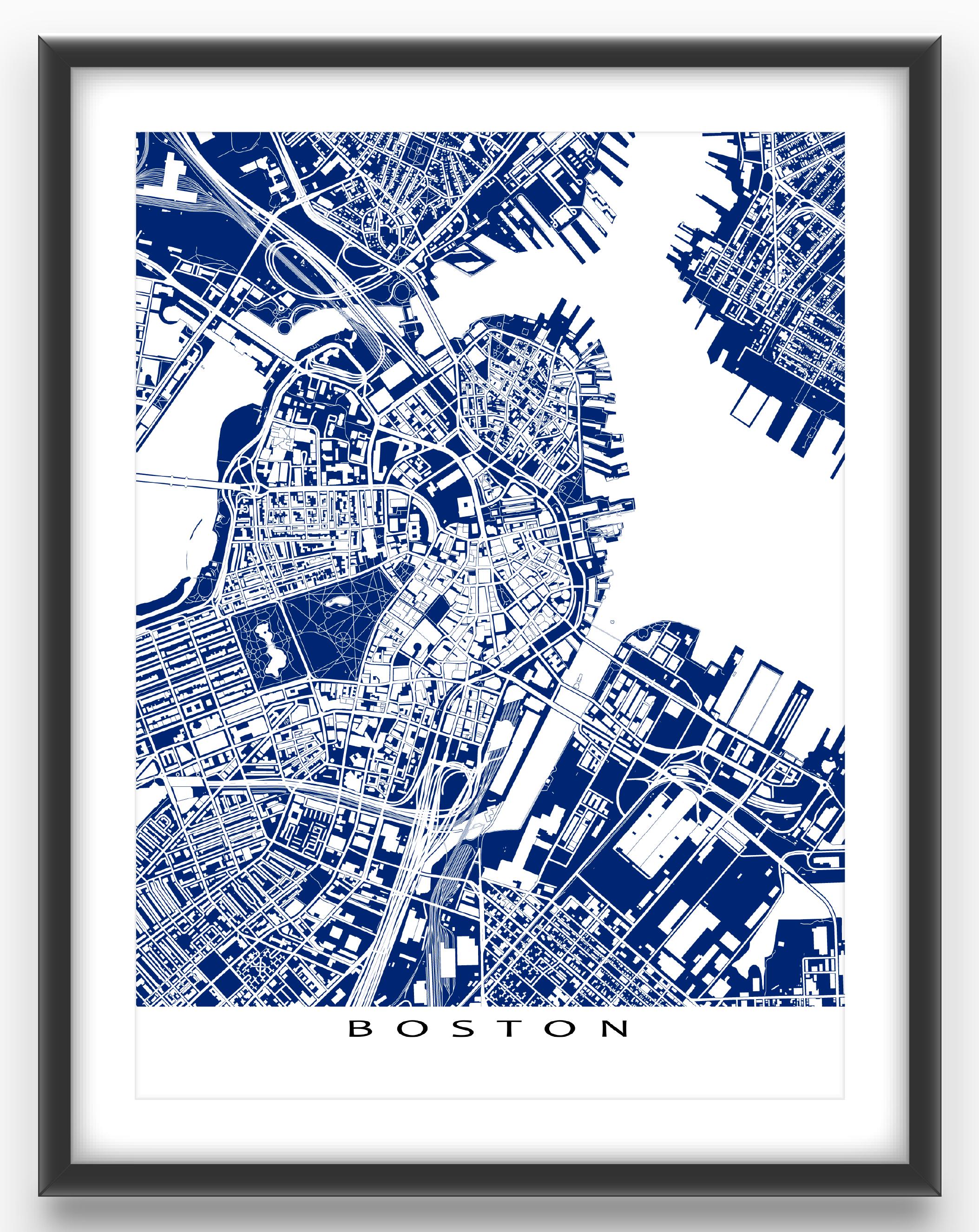 Boston map print featuring the fantastic city of Boston ...