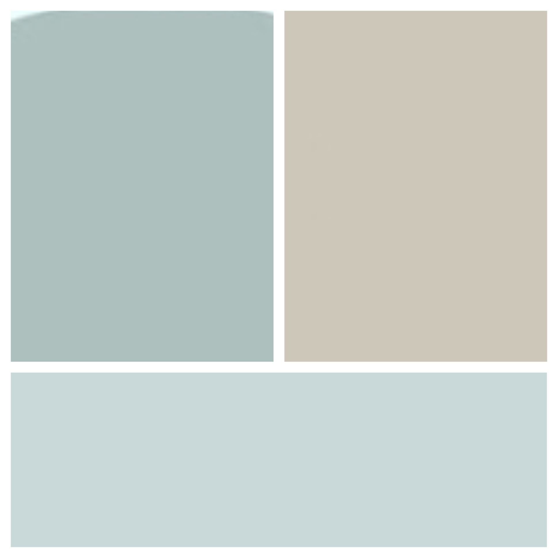 benjamin moore colors: wedgwood gray, revere pewter, and windy sky