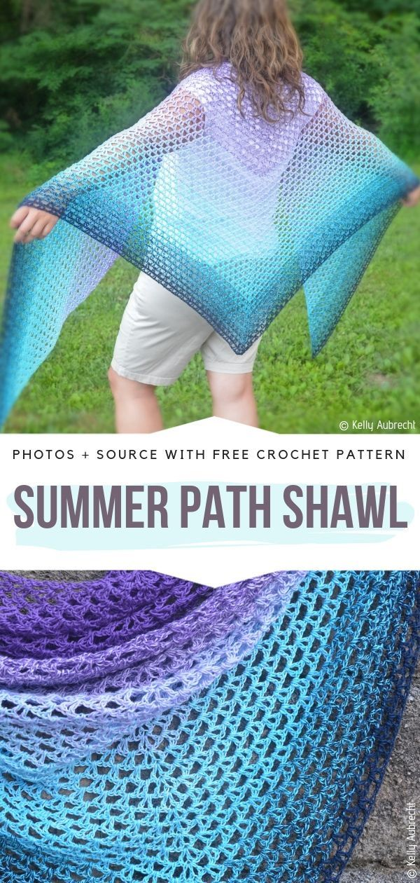 Lacy Gradient Shawls Free Crochet Patterns #crochetshawlfree