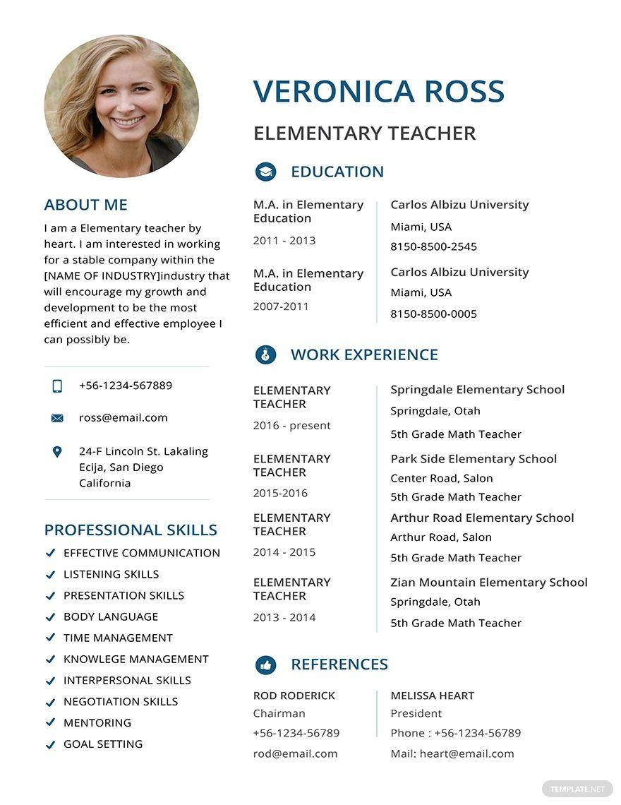 Free clean resume elementary teacher resume resume