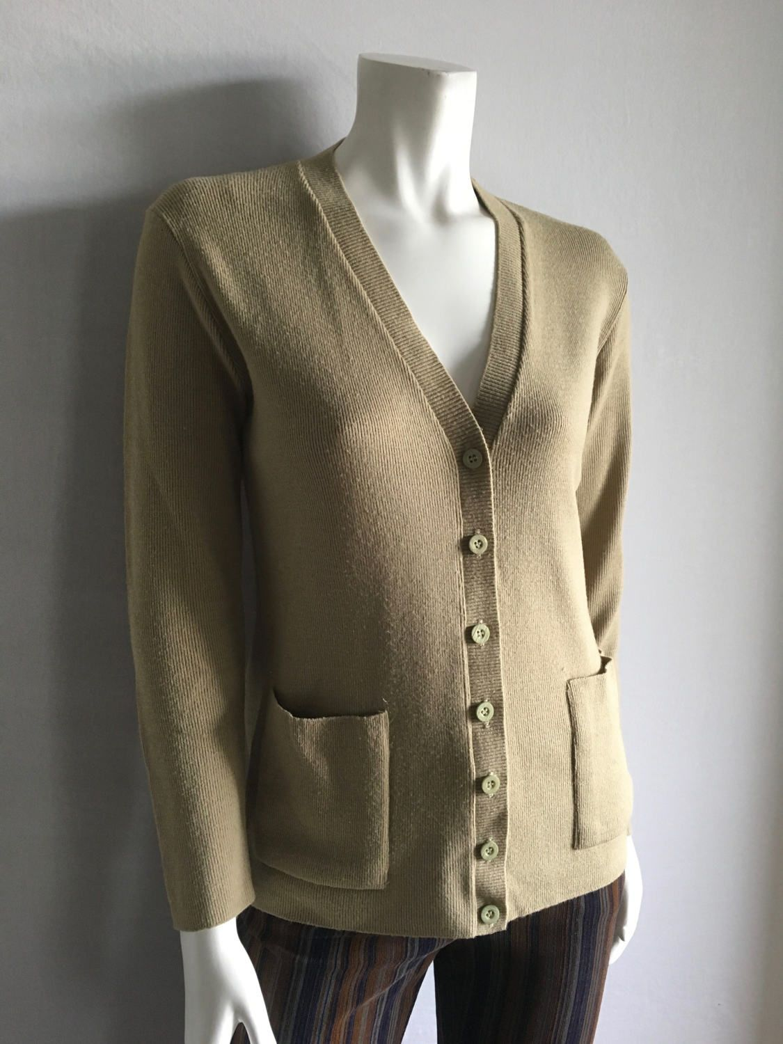 Vintage Women's 80's Tan Cardigan Sweater, Long Sleeve by Rosanna ...