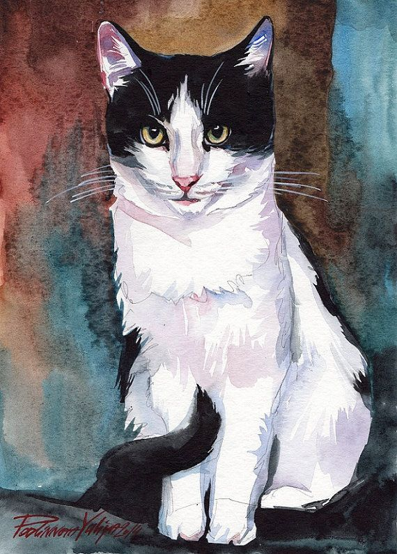 Print of the original watercolor painting tuxedo cat black and white cat kitty artwork picture wall art decor gift idea