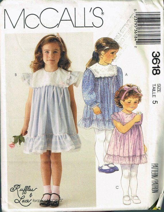Size 5 Girls Special Occasion Dress Sewing Pattern - Wide Collar A ...