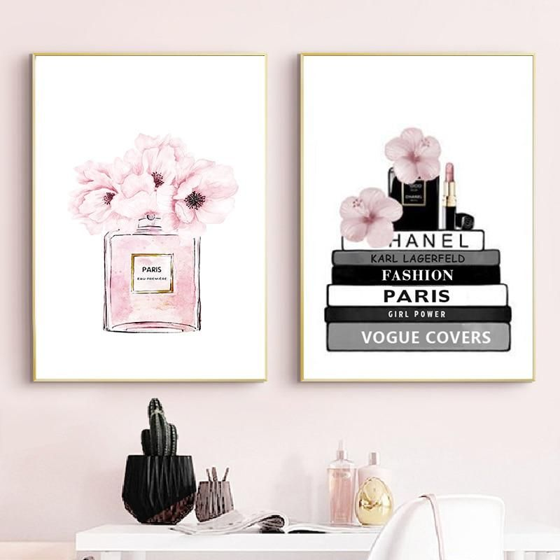 Fashion Book And Perfume Girly Girl Modern Canvas Wall Girly Wall Art Wall Art Canvas Painting Fashion Wall Art