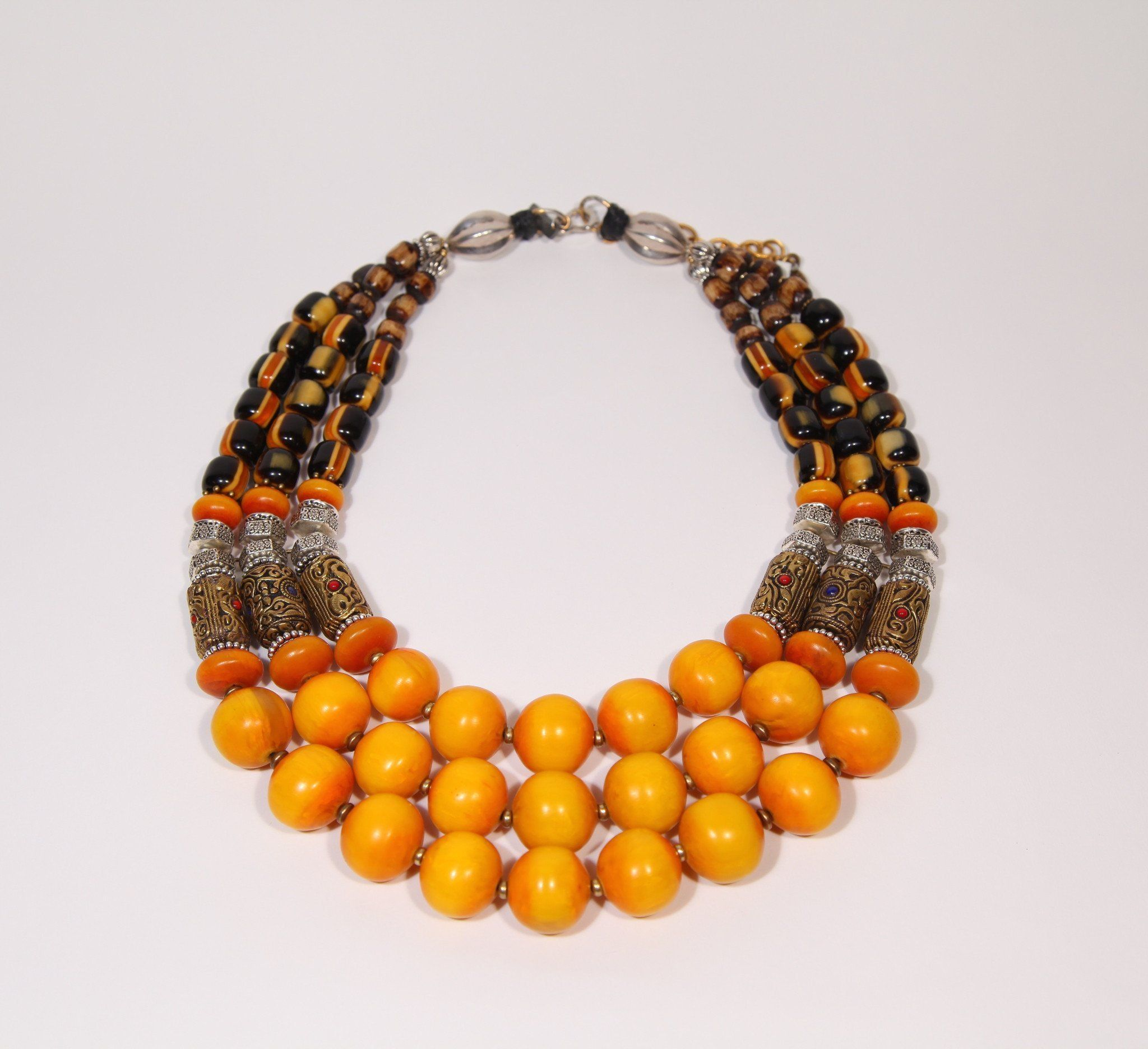 Saffron Amber Resin Statement Necklace