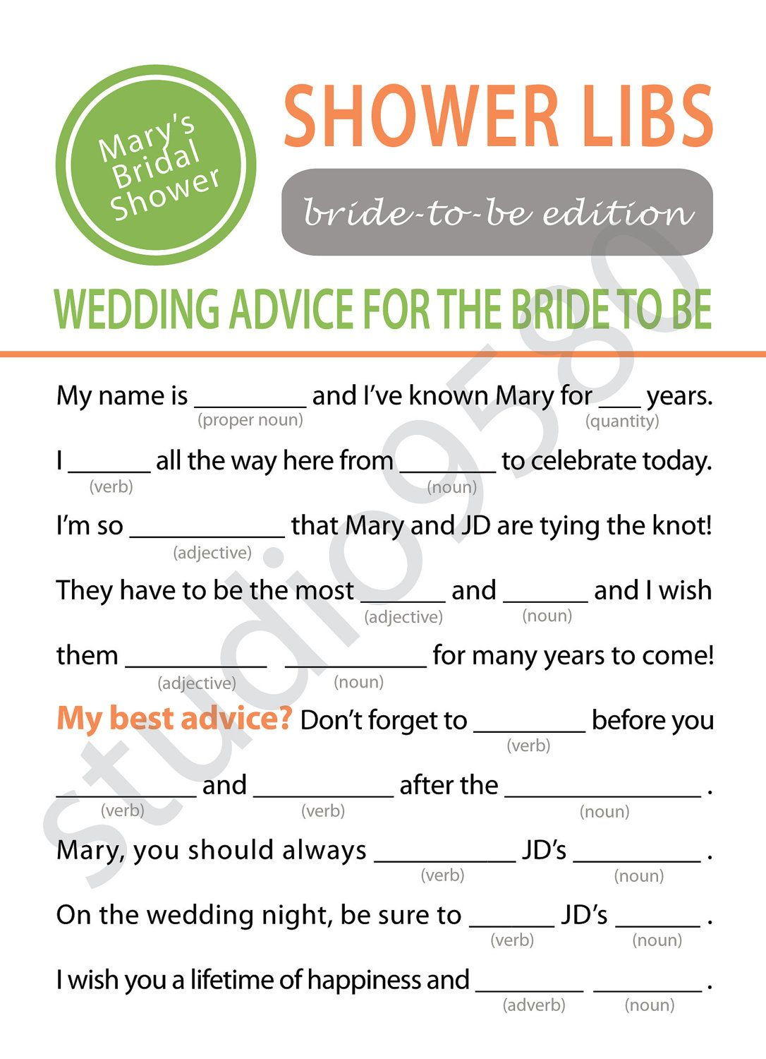 Printable Mad Libs Bridal Shower Game and then make the bride read ...