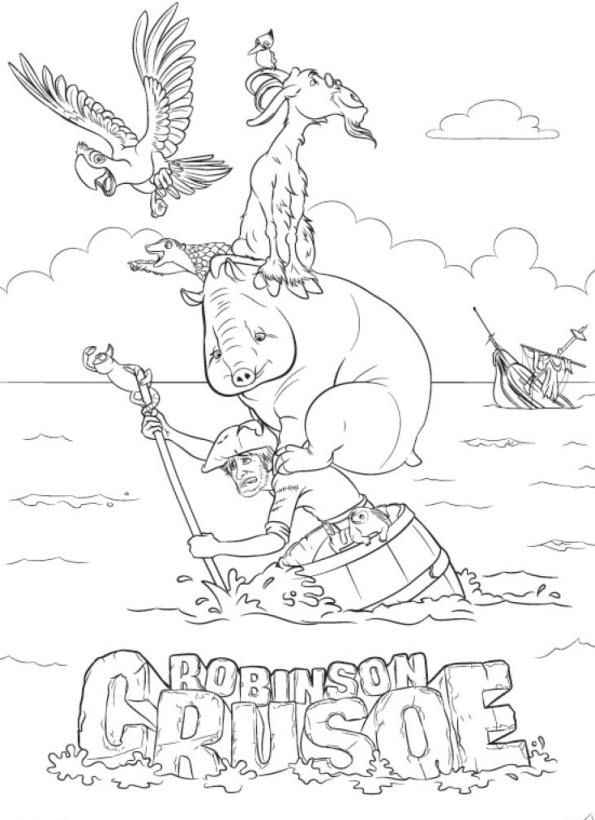 coloring page Robinson Crusoe 3D - Robinson Crusoe 3D | Coloring ...