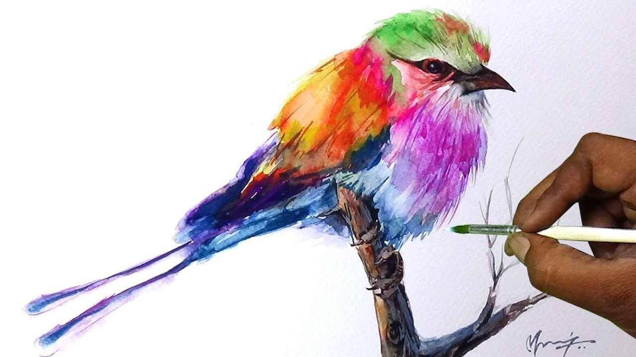 Bird Watercolor Painting Colorful Bird Watercolor Painting