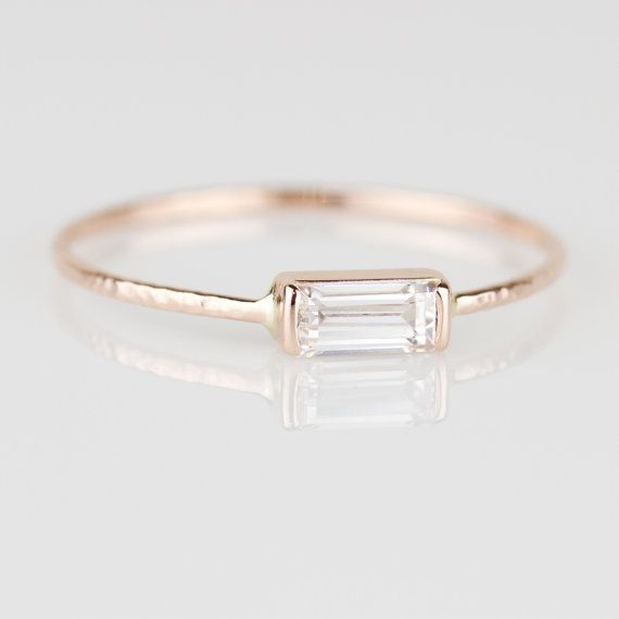 Sterling Silver  Yellow Gold  Rose Gold White Gold with Zircon or 0.1ct Diamond Geometric Engagement Ring for Women Modern Women/'s Ring