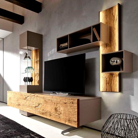 Modern Living Room Wall Units With Storage Inspiration Living