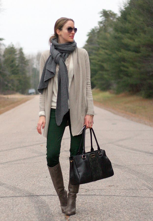 Green jeans and layering sweaters