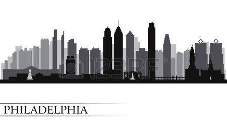 Philadelphia city skyline detailed silhouette  Vector illustration  photo