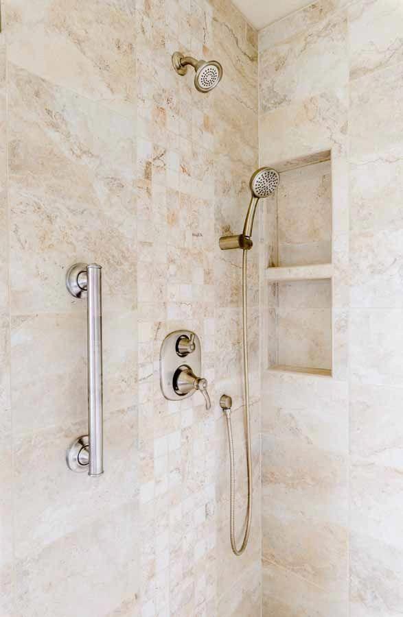 "Photo of Peregrine bathroom remodel, Colorado Springs, Ethnos Huron wall tile with ""cub…"