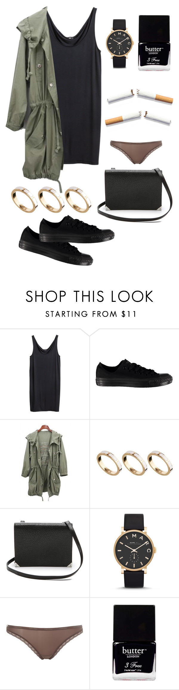 """Shopping days."" by sirenex ❤ liked on Polyvore featuring H&M, Converse, ASOS, Alexander Wang, Marc by Marc Jacobs, Calvin Klein, Butter London, women's clothing, women and female"