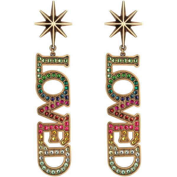 749ec171f25 Gucci Loved Pendant Earrings With Crystals (15.486.330 VND) ❤ liked on  Polyvore featuring jewelry