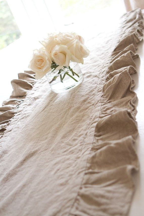 102 Inch Ruffled Flax Linen Table Runner By Ruffledlinens On Etsy 69 95 Beautiful Love It