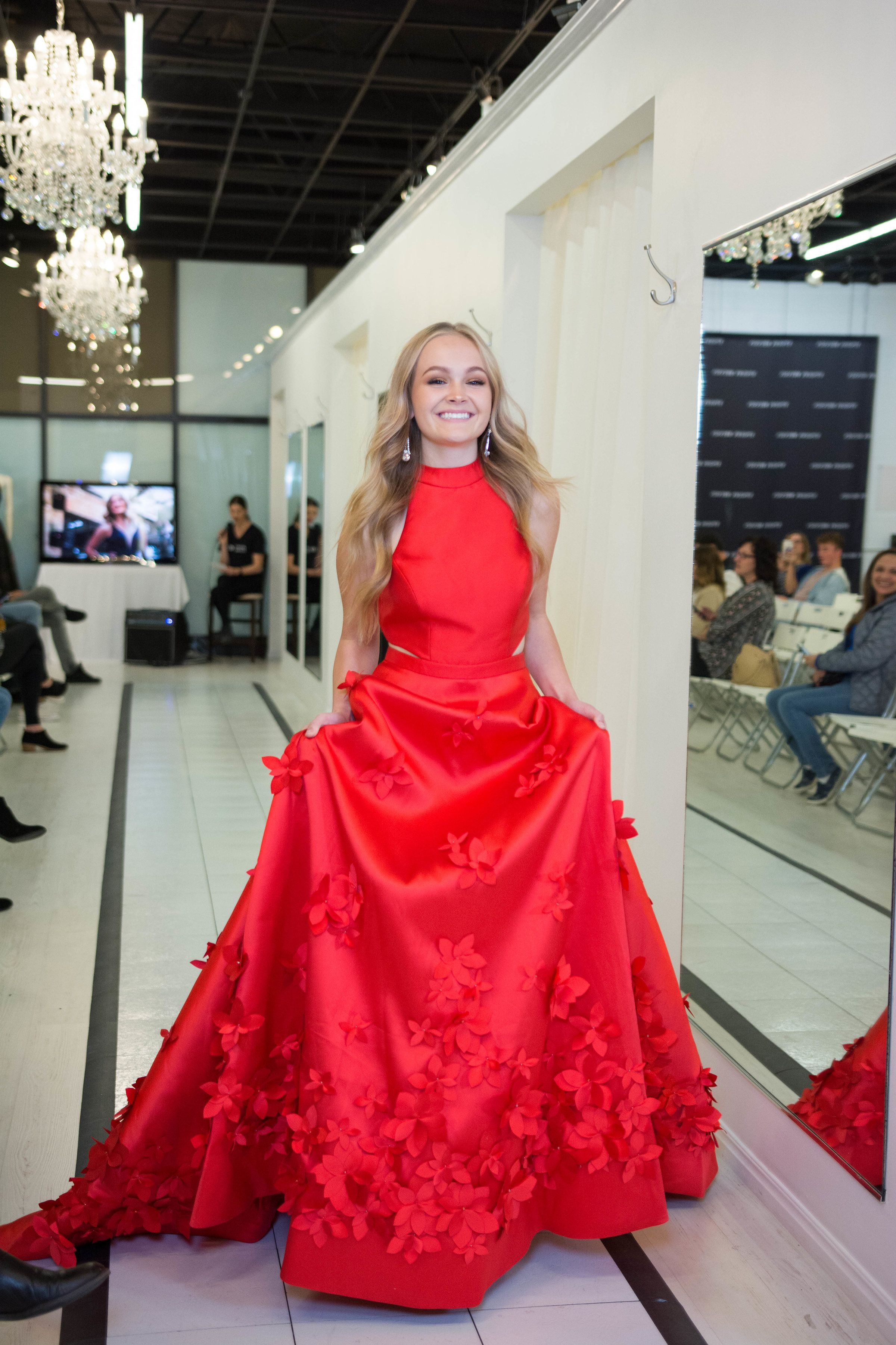 Red ballgown d floral flower appliqué high neckline cherry red