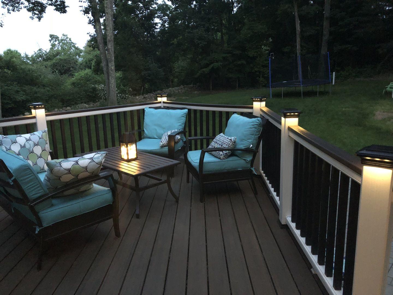 Solar Post Cap Light For Trex Transcend Post Sleeves By Ultra Bright Solar Post Caps Solar Deck Lights Deck Designs Backyard