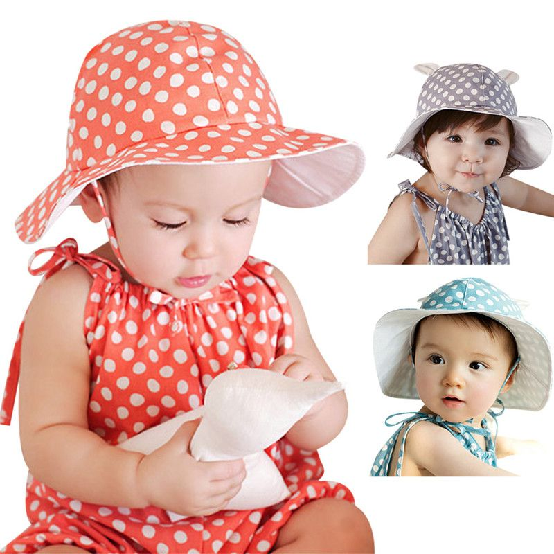 e3f81cbeba6 Sweet Newborn Infants Sun Bucket Hats Caps Cute Baby Sunhat Outdoor Polka  Dots Beach Ear Hats