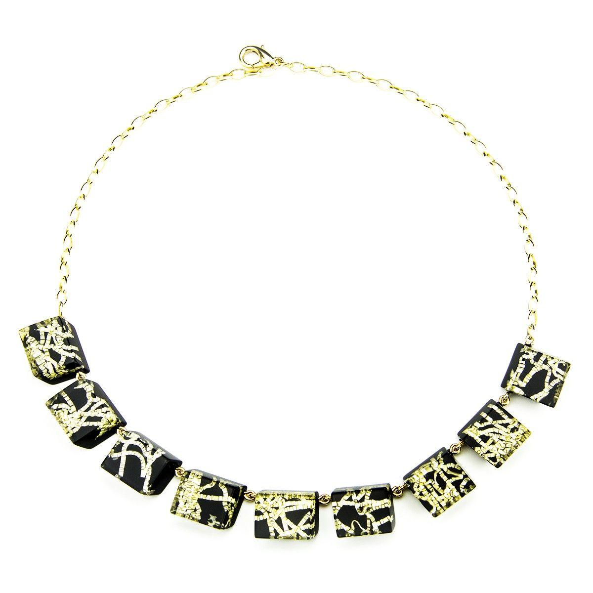 Rechteck-Halbkette in Schwarz mit Goldtextur-Einschluss* Necklace Black Acrylic with Goldtexture inside * Pyramonte Berlin
