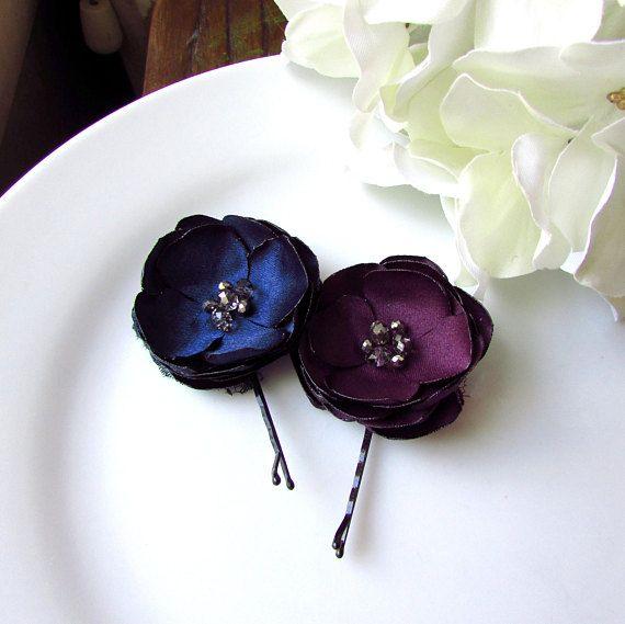 Dark Navy and Plum Wedding Hair Accessories, Plum Flower ...