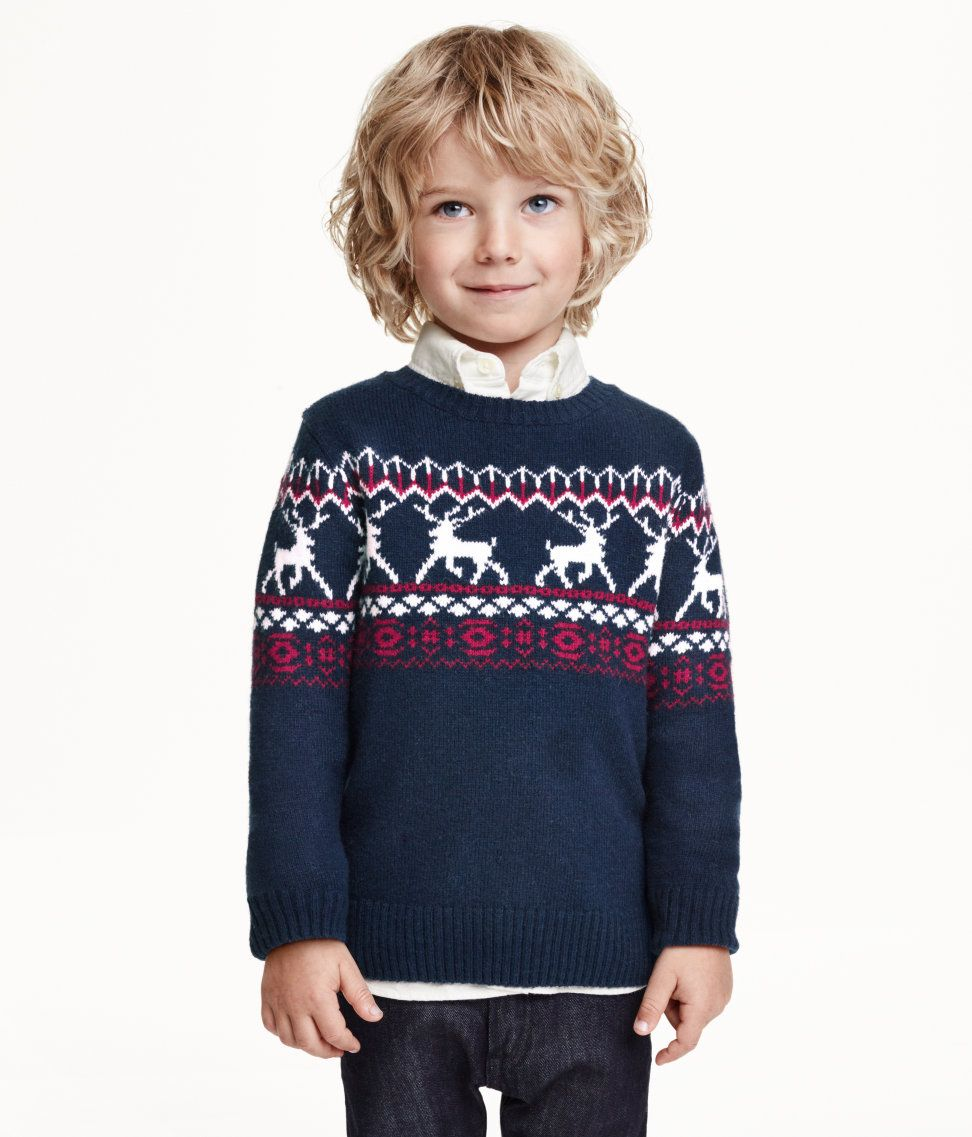 Navy blue Fair-Isle sweater with reindeer. | H&M Kids | H&M FOR ...